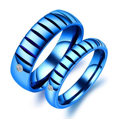 Tinnivi Stylish Blue Fillister Titanium Steel Band For Couples