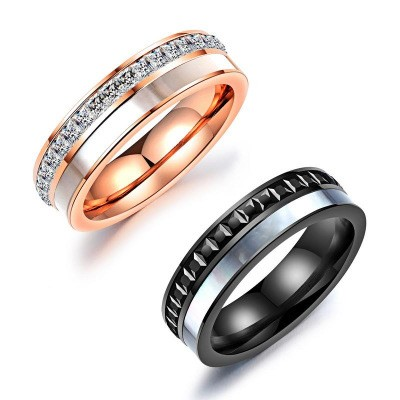 Tinnivi Black Rose Gold Created White Sapphire Titanium Steel Band For Couples