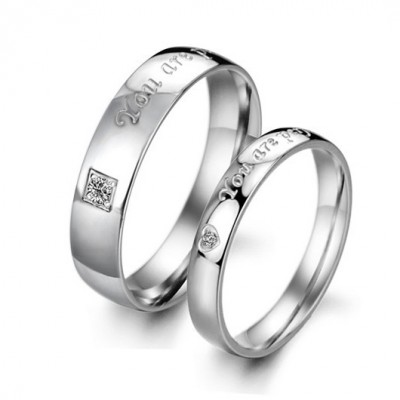 Tinnivi Silver Color lettering Titanium Steel Couples Rings