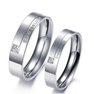 Tinnivi Silver Color Endlesslove Titanium Steel Couples Rings