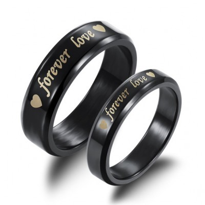 Tinnivi Black Forever Love Titanium Steel Couples Rings
