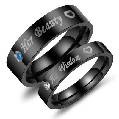 Tinnivi Black Her Beauty His Wisdom Titanium Steel Couples Rings