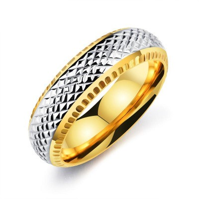 Tinnivi Silver Gold Titanium Steel Mens Band