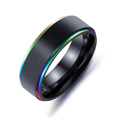 Tinnivi Cool Black Colorful Side Titanium Steel Mens Band
