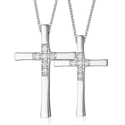 Cross with Gemstone Titanium Steel Necklace