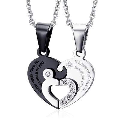 Heart Design Black and Silver Titanium Steel Necklace