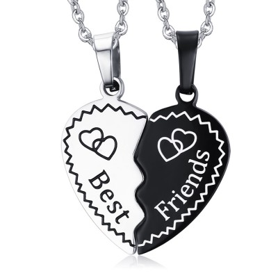 Best Friends Black and Silver Titanium Steel Necklace