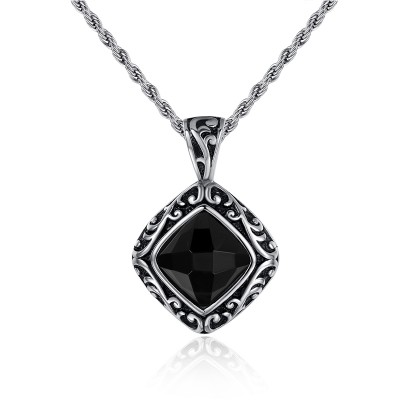 Nice Black Gemstone 925 Sterling Silver Necklace