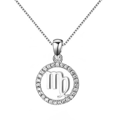 Virgo White Sapphire 925 Sterling Silver Necklace