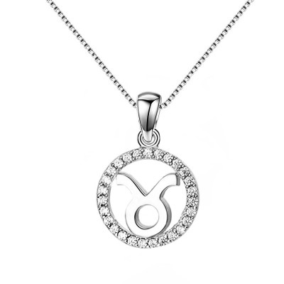 Taurus White Sapphire 925 Sterling Silver Necklace