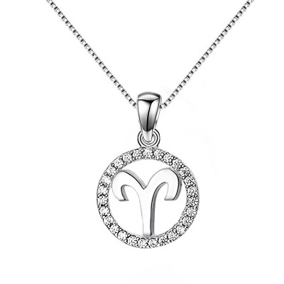 Aries White Sapphire 925 Sterling Silver Necklace