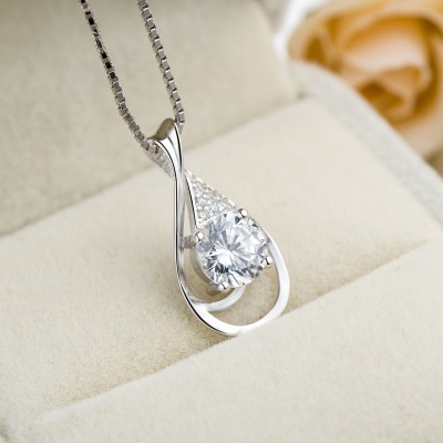Classic White Sapphire 925 Sterling Silver Necklace