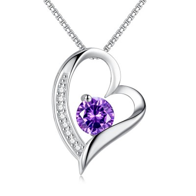 Amethyst 925 Sterling Silver Heart Necklace