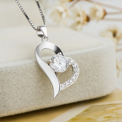 Classic White Sapphire 925 Sterling Silver Heart Necklace