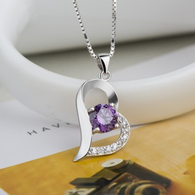 Classic Amethyst 925 Sterling Silver Heart Necklace