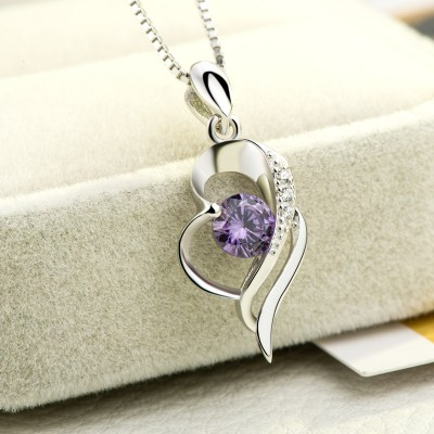 Vintage Amethyst 925 Sterling Silver Heart Necklace