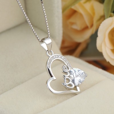 Simple White Sapphire 925 Sterling Silver Heart Necklace