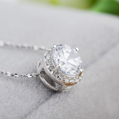 Simple White Sapphire 925 Sterling Silver Necklace