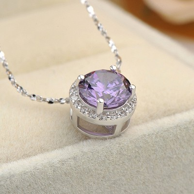 Simple Amethyst 925 Sterling Silver Necklace
