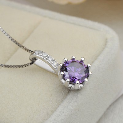 Simple Amethyst 925 Sterling Silver Fashion Necklace