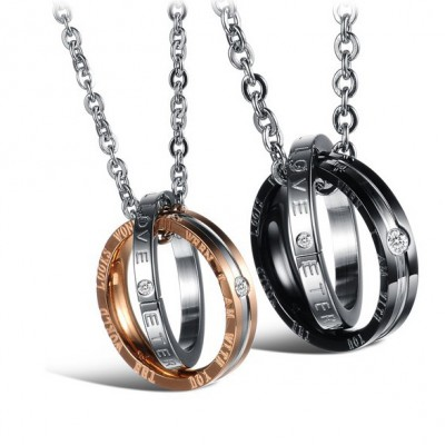 Tinnivi His And Hers Love Matching Set Titanium Steel Created White Saphire Pendant Necklace For Couples