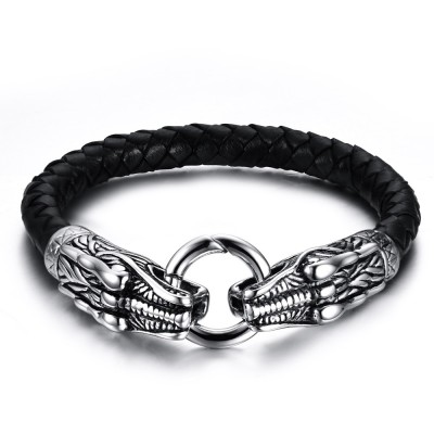 Cool Black Leather Titanium Steel Bracelet