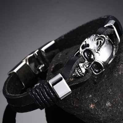 Black Leather Skull Titanium Steel Bracelet