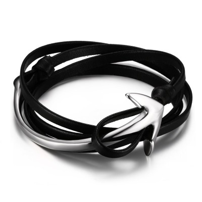Black Leather Silver Anchor Titanium Steel Bracelet