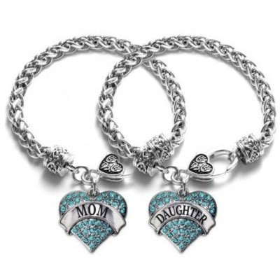 Tinnivi Mom Daughter Silver Plated Titanium Steel Aqua Pave Heart Charm Bracelet