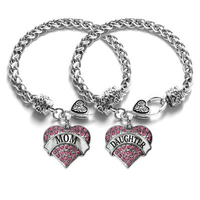 Tinnivi Mom Daughter Silver Plated Titanium Steel Pink Pave Heart Charm Bracelet