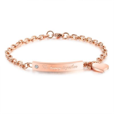 Tinnivi Be Happy Together Heart Rose Gold Titanium Steel Bracelet