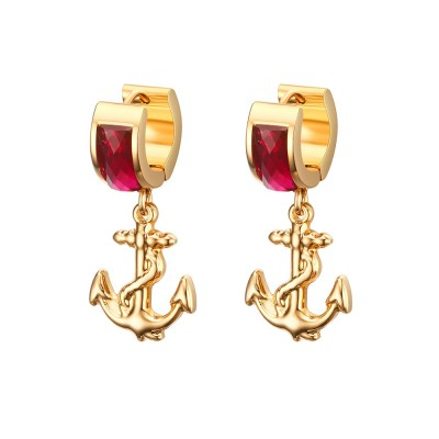 Gold Titainum Steel Ruby Gemstone Earrings