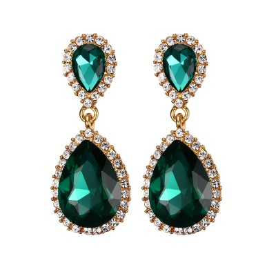 925 Sterling Silver Pear Cut Emerald Gemstone Earrings