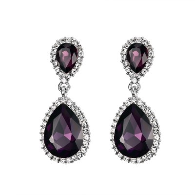 925 Sterling Silver Pear Cut Garnet Earrings