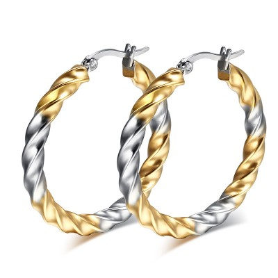Gold Hoops Stainless Steel Twisted Wire Round Wave Linear Earrings