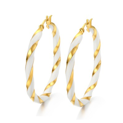 Gold and White Titanium Steel Earrings