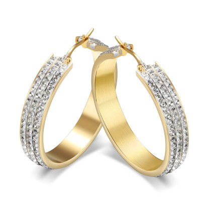 Round Cut White Sapphire Gold Titanium Steel Earrings