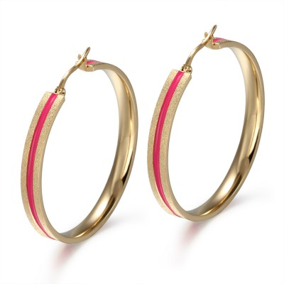 Pink and Gold 925 Sterling Silver Earrings