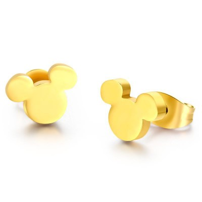 Gold Color Stainless Steel Lovely Mickey Stud Earrings For Women