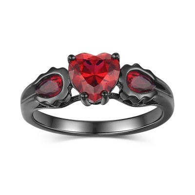 Tinnivi Sterling Silver Black Heart Cut Created Garnet Women's Ring