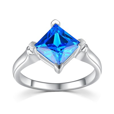 Blue Sapphire Princess Cut 925 Sterling Silver Women's Engagement Ring