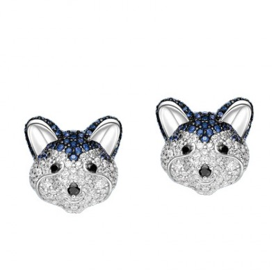 Tinnivi Cute Silver With Created White Sapphire Husky Ear Stud Earring