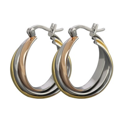 Silver Gold and Rose Gold 925 Sterling Silver Earrings