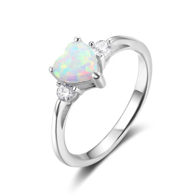 Tinnivi Sterling Silver Heart Cut Opal And Created White Sapphire Womens Ring