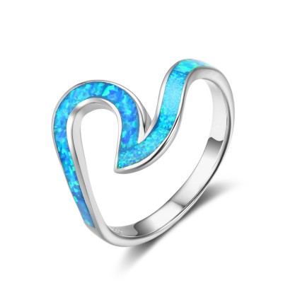 Tinnivi Stylish Wave Sterling Silver Blue Opal Womens Band