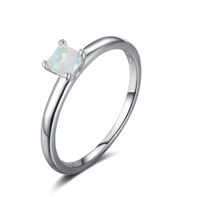 Tinnivi Classic Sterling Silver Princess Cut Opal Womens Ring