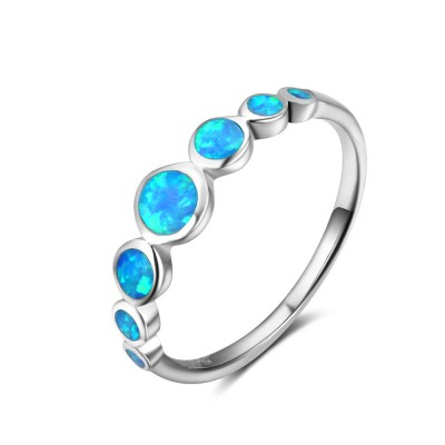 Tinnivi Elegant Sterling Silver Blue Opal Womens Band