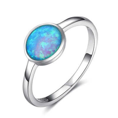 Tinnivi Simple Sterling Silver Round Cut Blue Opal Womens Ring