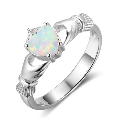 Tinnivi Claddagh Heart Cut Opal Sterling Silver Womens Ring