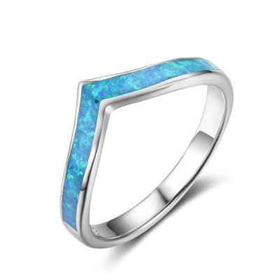 Tinnivi Sterling Silver V Shape Blue Opal Fashion Womens Band